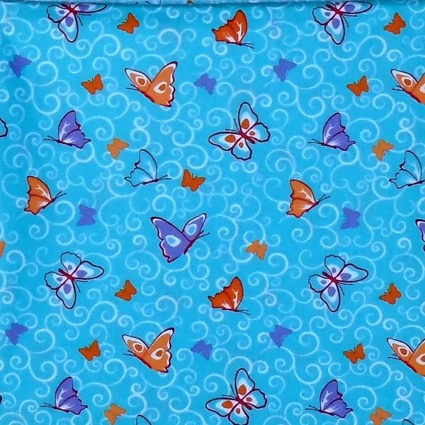 coton papillon turquoise
