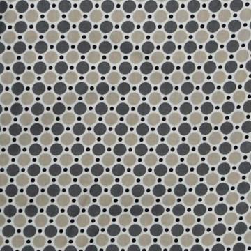 coton pois gris taupe